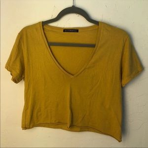 mustard cropped brandy v neck
